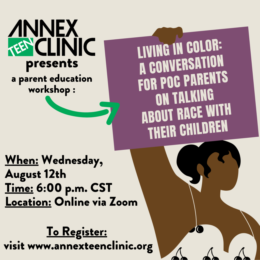 Event flyer with a beige background and a person holding a purple sign that states Living in Color A Conversation For POC Parents On Talking About Race With Their Children along with the information about the event and how to register.